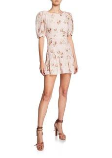 LoveShackFancy Lena Floral-Print Puff-Sleeve Mini Dress with Bow