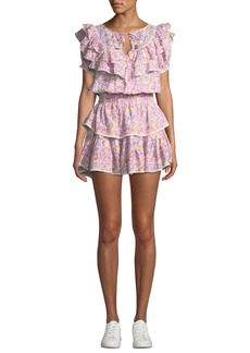 LoveShackFancy Liv Tiered Ruffle Floral Cotton Coverup Dress