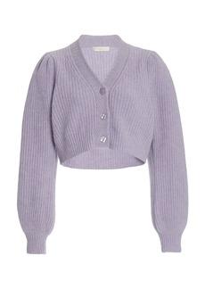 LoveShackFancy - Women's Avignon Puff-Sleeve Wool-Cashmere Cropped Cardigan - Purple/white - Moda Operandi