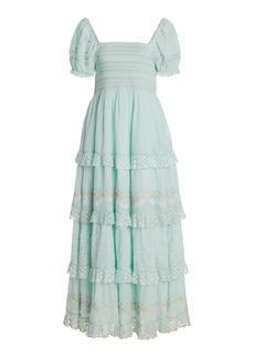 LoveShackFancy - Women's Capella Tiered Lace-Trimmed Smocked Cotton Maxi Dress - Green/white - Moda Operandi