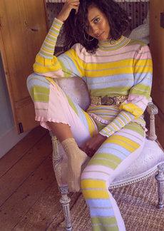 LoveShackFancy - Women's Crosby Metallic Striped Cotton-Blend Mock-Neck Sweater - Multi - Moda Operandi