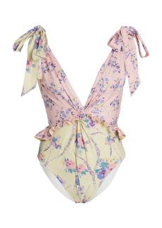 LoveShackFancy - Women's Demeter Ruffled Floral One-Piece Swimsuit - Floral - Moda Operandi