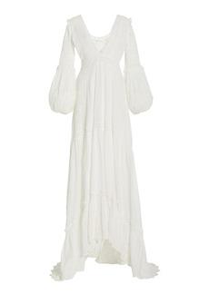 LoveShackFancy - Women's Donnie Embroidered-Eyelet Swiss Dot Cotton Maxi Dress - White - Moda Operandi