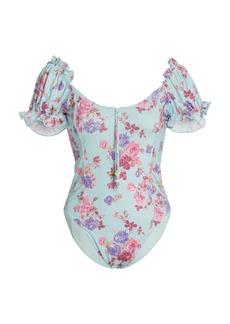 LoveShackFancy - Women's Fantasia Puff-Sleeve Floral One-Piece Swimsuit - Blue - Moda Operandi