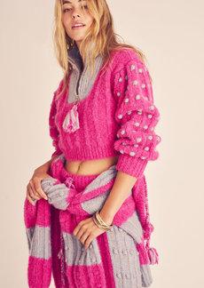 LoveShackFancy - Women's Jonae Pom-Pom Detailed Ribbed-Knit Cropped Sweater - Pink/purple - Moda Operandi