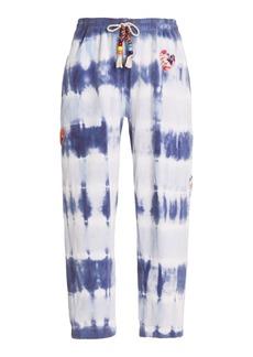 LoveShackFancy - Women's Santinella Beaded Tie-Dyed Cotton Terry Pants - Blue - Moda Operandi