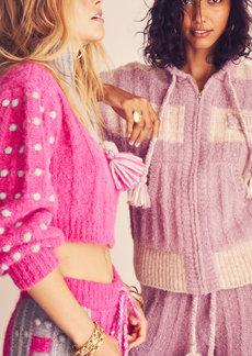 LoveShackFancy - Women's Tirzah Pom-Pom Detailed Ribbed-Knit Zip-Front Hoodie - Purple - Moda Operandi