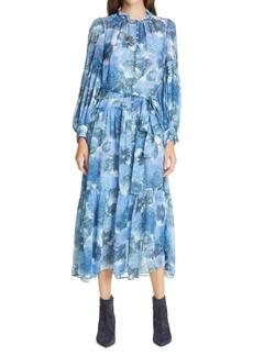 LoveShackFancy Althea Long Sleeve Silk Maxi Dress