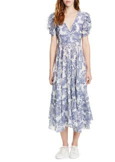 LoveShackFancy Andie Floral Cotton & Silk Midi Dress