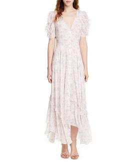 LoveShackFancy Andie Floral Handkerchief Hem Silk Dress