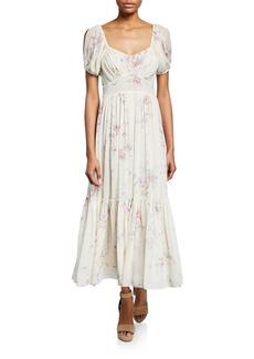 Loveshackfancy Angie Floral-Print Square-Neck Short-Sleeve Maxi Dress