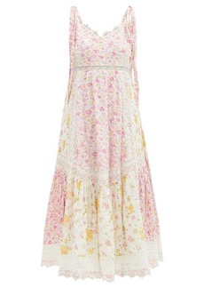 LoveShackFancy Antonella lace-trim floral-print cotton dress