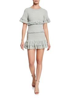 Loveshackfancy Aveline Smocked Dot-Print Tiered Ruffle Mini Dress