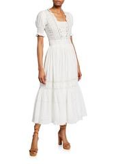 LoveShackFancy Ayla Lace-Trim Cotton Long Dress