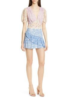 LoveShackFancy Bea Colorblock Ditsy Silk Minidress
