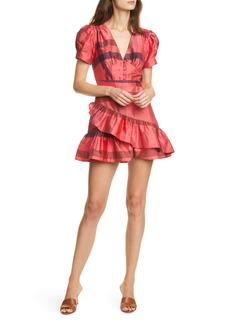 LoveShackFancy Bea Plaid Silk Puff Sleeve Minidress
