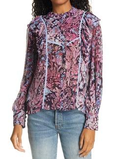 LoveShackFancy Beatrix Floral Button Front Blouse