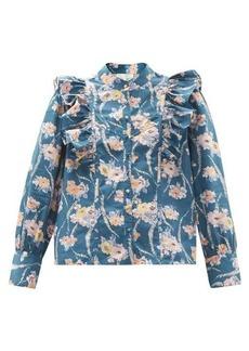 LoveShackFancy Beatrix ruffled floral-print cotton blouse