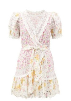LoveShackFancy Belen cotton and lace mini dress