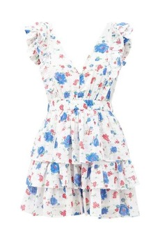 LoveShackFancy Bennett floral-print V-neck cotton mini dress