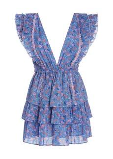 LoveShackFancy Bennett Tiered Floral-Print Cotton-Georgette Mini Dress