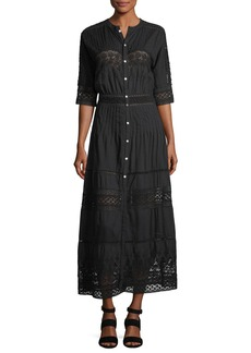 Loveshackfancy Beth Button-Front Cotton Coverup Dress with Crochet Lace