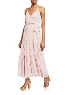 LoveShackFancy Bobbi Tiered Silk Charmeuse Floral Wrap Dress
