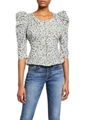 LoveShackFancy Brenna Floral Puff-Sleeve Jacket