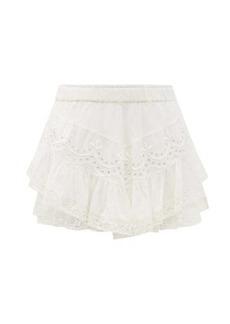 LoveShackFancy Briella broderie-anglaise cotton mini skirt