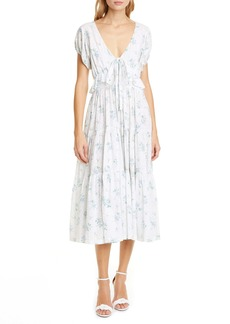 LoveShackFancy Carlton Floral Ruffle Cotton Dress