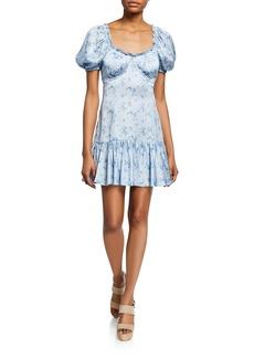 LoveShackFancy Catalina Puff-Sleeve Floral Charmeuse Mini Dress