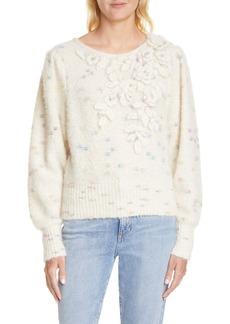 LoveShackFancy Claudette Floral Alpaca Blend Sweater