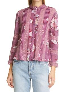 LoveShackFancy Cory Floral Lace Detail Cotton & Silk Blouse