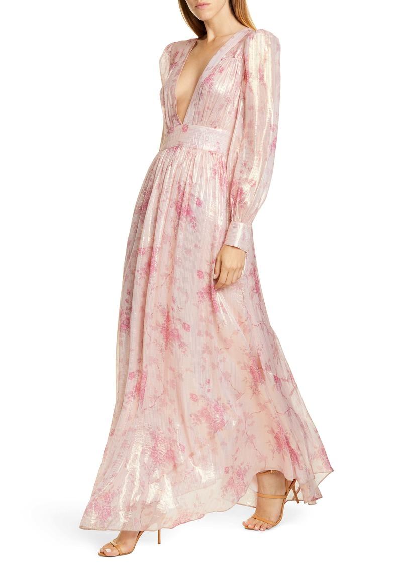 LoveShackFancy Cyrena Metallic Shine Lon Sleeve Maxi Dress