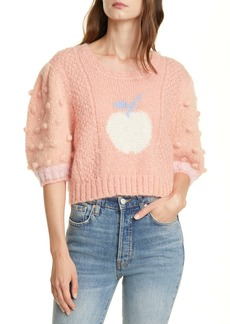 LoveShackFancy Cyrielle Mohair & Wool Blend Crop Sweater