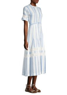 LoveShackFancy Eden Stripe Midi Dress