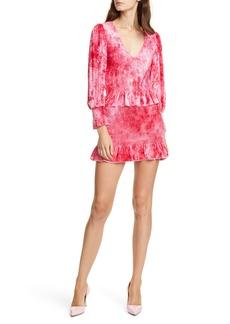 LoveShackFancy Evan Tie Dye Long Sleeve Velvet Minidress