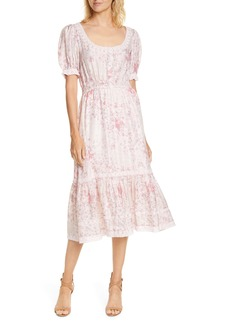 LoveShackFancy Floral Print Silk Midi Dress