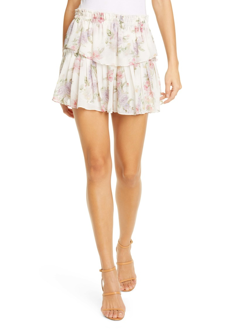 LoveShackFancy Floral Ruffle Silk Miniskirt