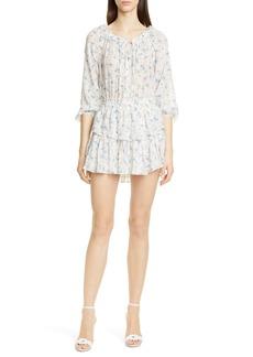 LoveShackFancy Floral Silk Asymmetrical Popover Minidress