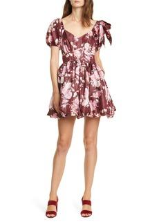 LoveShackFancy Hansel Floral Puff Tie Sleeve Minidress