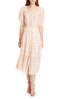 LoveShackFancy Helena Eyelet Midi Dress