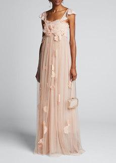 LoveShackFancy Irene Floral Tulle Cap-Sleeve Dress