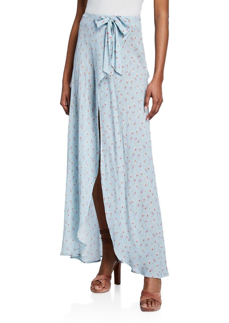 LoveShackFancy Jolene Silk Wrap-Front Maxi Skirt