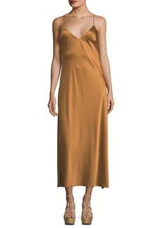LoveShackFancy Kate V-Neck Satin Cocktail Slip Dress