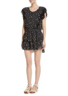 LoveShackFancy Katie Scoop-Neck Sleeveless Floral-Print Dress w/ Lace Trim
