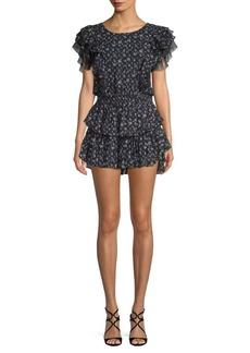 LoveShackFancy Katie Silk Georgette Fit-&-Flare Mini Dress