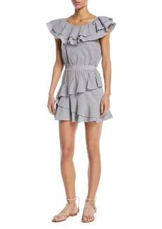 LoveShackFancy Lacey Round-Neck Ruffled Gingham Cotton Dress