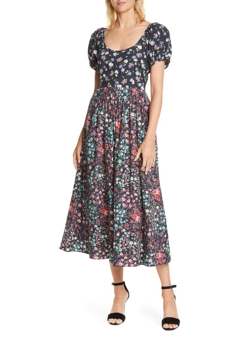 LoveShackFancy Lais Floral Puff Sleeve Cotton A-Line Dress
