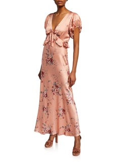 Loveshackfancy Lillian Floral-Print V-Neck Short-Sleeve Silk Dress
